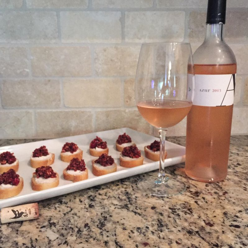 Azur Rose with Cranberry Crostini