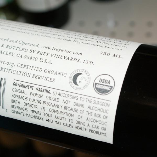 Certified Organic Wine Bottle