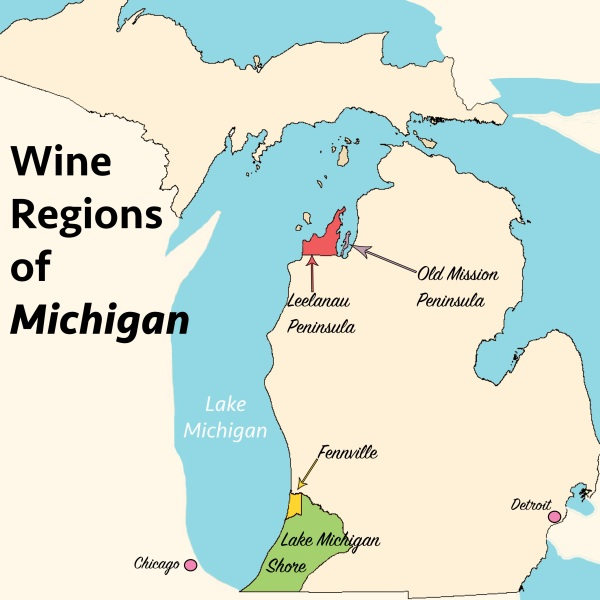 Wine Regions of Michigan Map